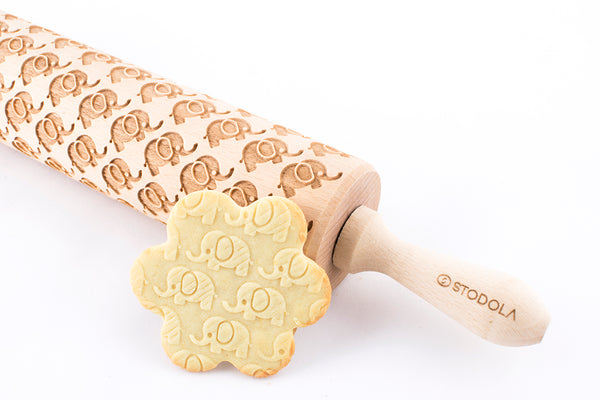 Rolling Pin Embossed with ELEPHANTS