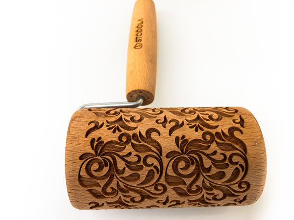 Rolling Pin Embossed With FOLK DECORATIVE Pattern For Baking Engraved cookies Size Roller 4 inch