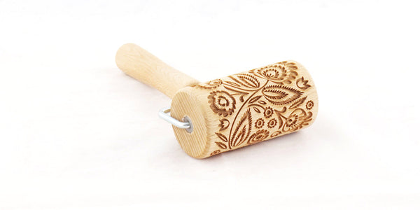 Rolling Pin Embossed With FOLK FLORAL Pattern For Baking Engraved cookies Size Roller 4 inch