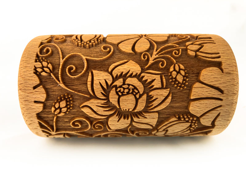Rolling Pin Embossed With MONSTREA FLORAL Pattern with Flowers For Engraved cookies Roller 4 in