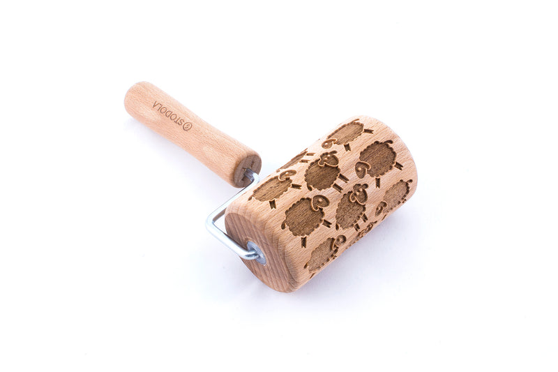 Rolling Pin Embossed With ADORABLE SHEEP