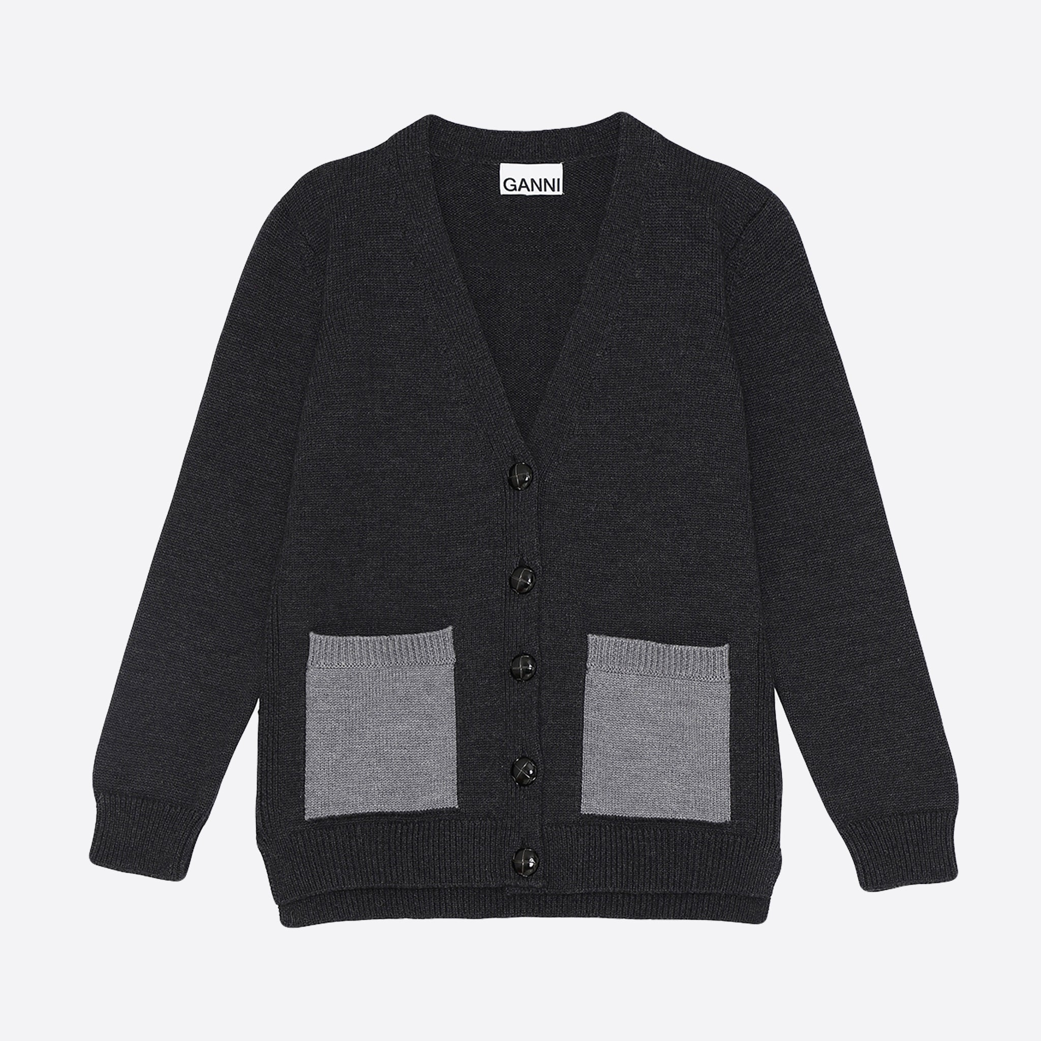 Ganni Wool Knit Cardigan in Phantom