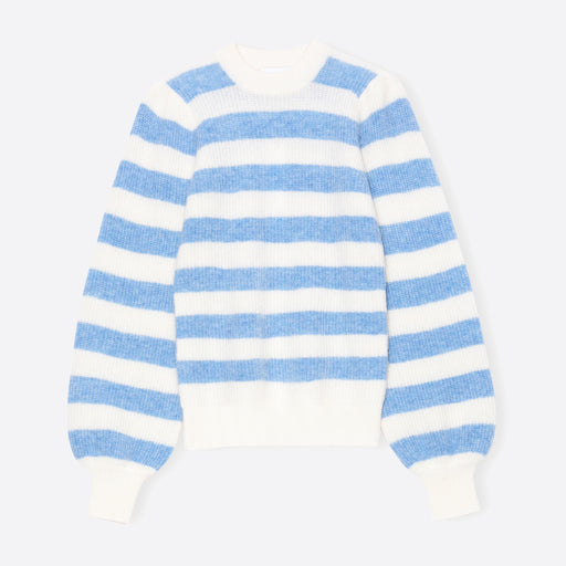 Ganni Soft Wool Knit Pullover in Blue and White Stripe