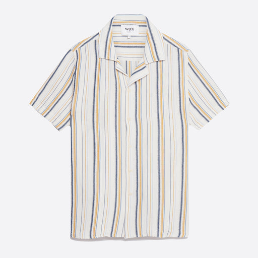 Wax London Didcot Shirt in Mustard Stripe