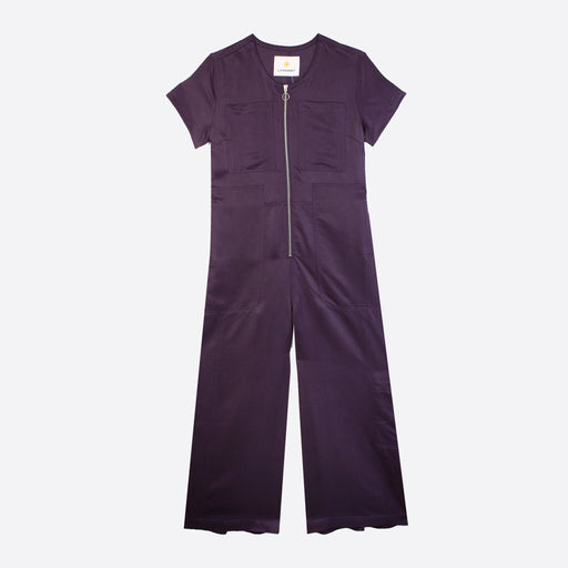LF Markey Felix Boilersuit in Navy Satin