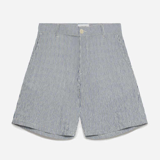 Wax London Holm Shorts in Navy/ White Seersucker