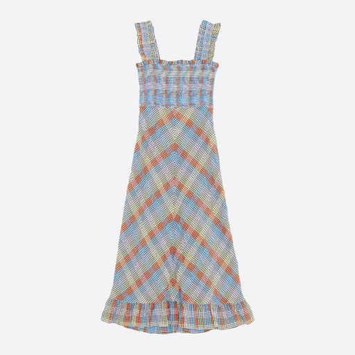 Ganni Seersucker Check Maxi Dress in Multicolour