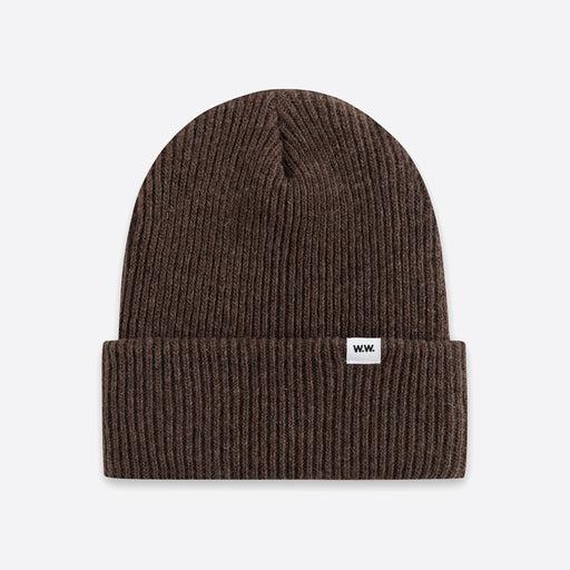 Wood Wood Mande Beanie in Dark Brown