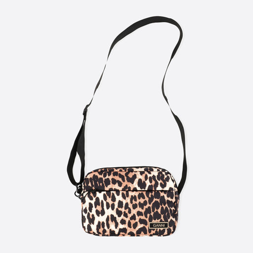Ganni Recycled Tech Fabric Festival Bag in Leopard