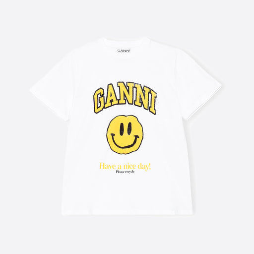 Ganni Basic White Cotton Jersey T-shirt in Smiley Face Print