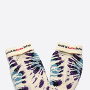 RoToTo Tie Dye Pattern Crew Socks in Purple / Sax