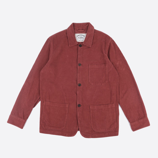Portuguese Flannel Labura Overshirt in Red Corduroy