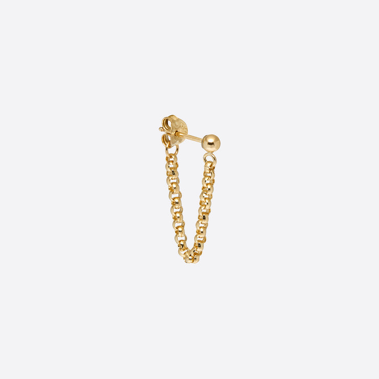 Nagle and Sisters Single Short Chain Loop Stud in Gold