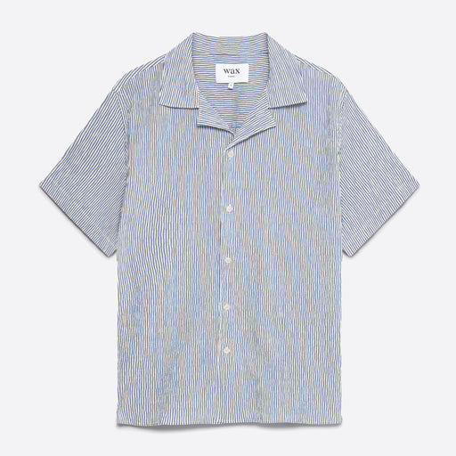 Wax London Didcot Short Sleeve Shirt in Indigo White Stripe Seersucker