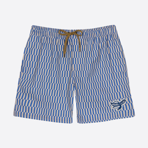 Mami Wata Vertical Stripe Surf Trunk in Grey/Blue