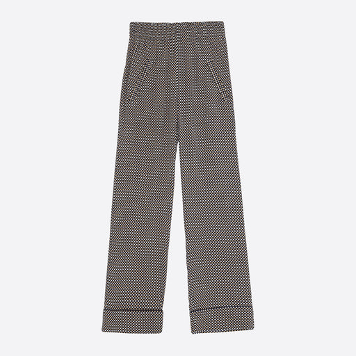 Ganni Printed Crepe Pants in Tannin