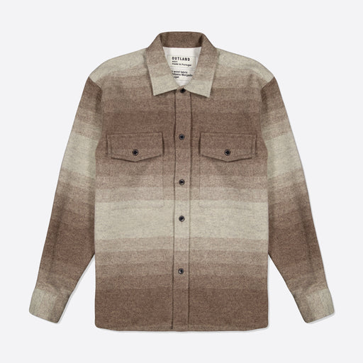 OUTLAND Army Twill Overshirt in Off White / Brown Stripes