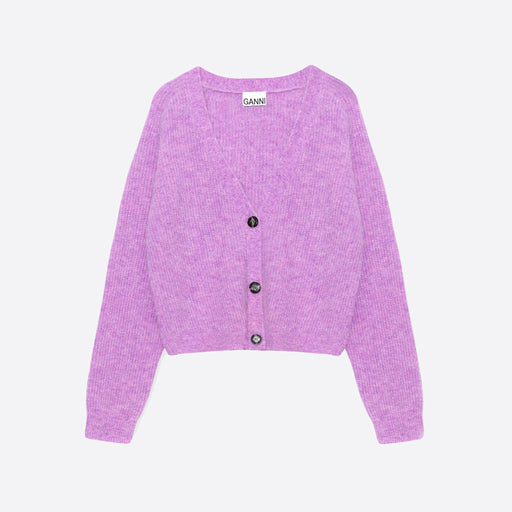 Ganni Soft Wool Knit Cardigan in Pastel Lilac