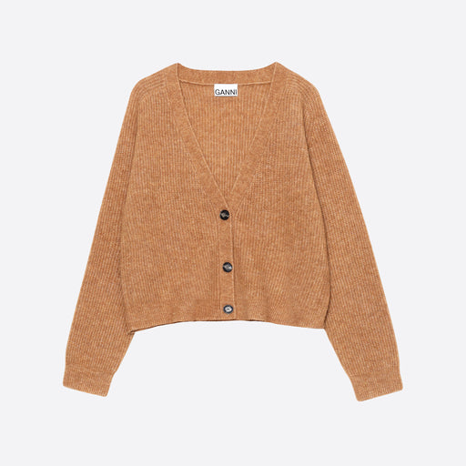 Ganni Soft Wool Knit Cardigan in Tiger's Eye