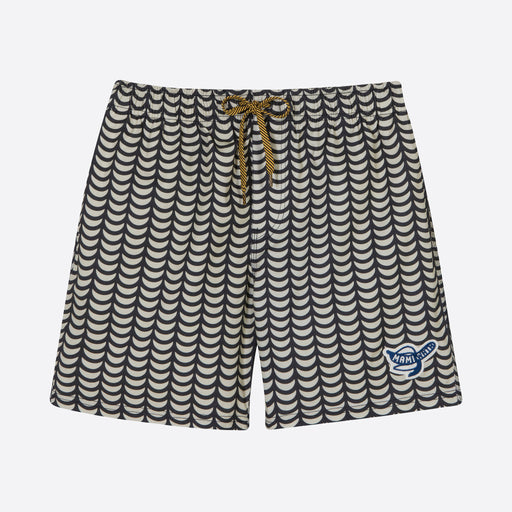 Mami Wata Tofo Surf Trunks in Ecru/ Black