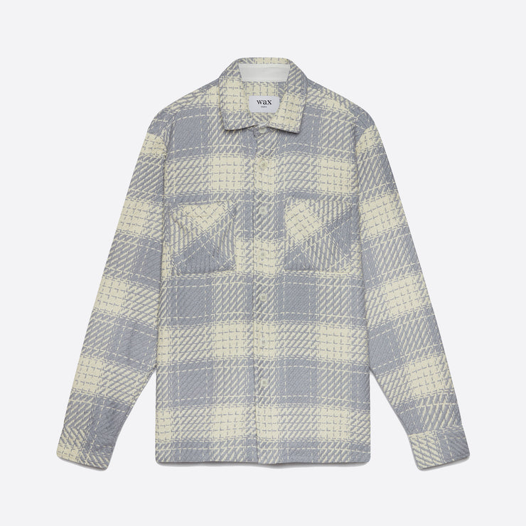 Wax London Whiting Shirt in Ecru/Raindrop