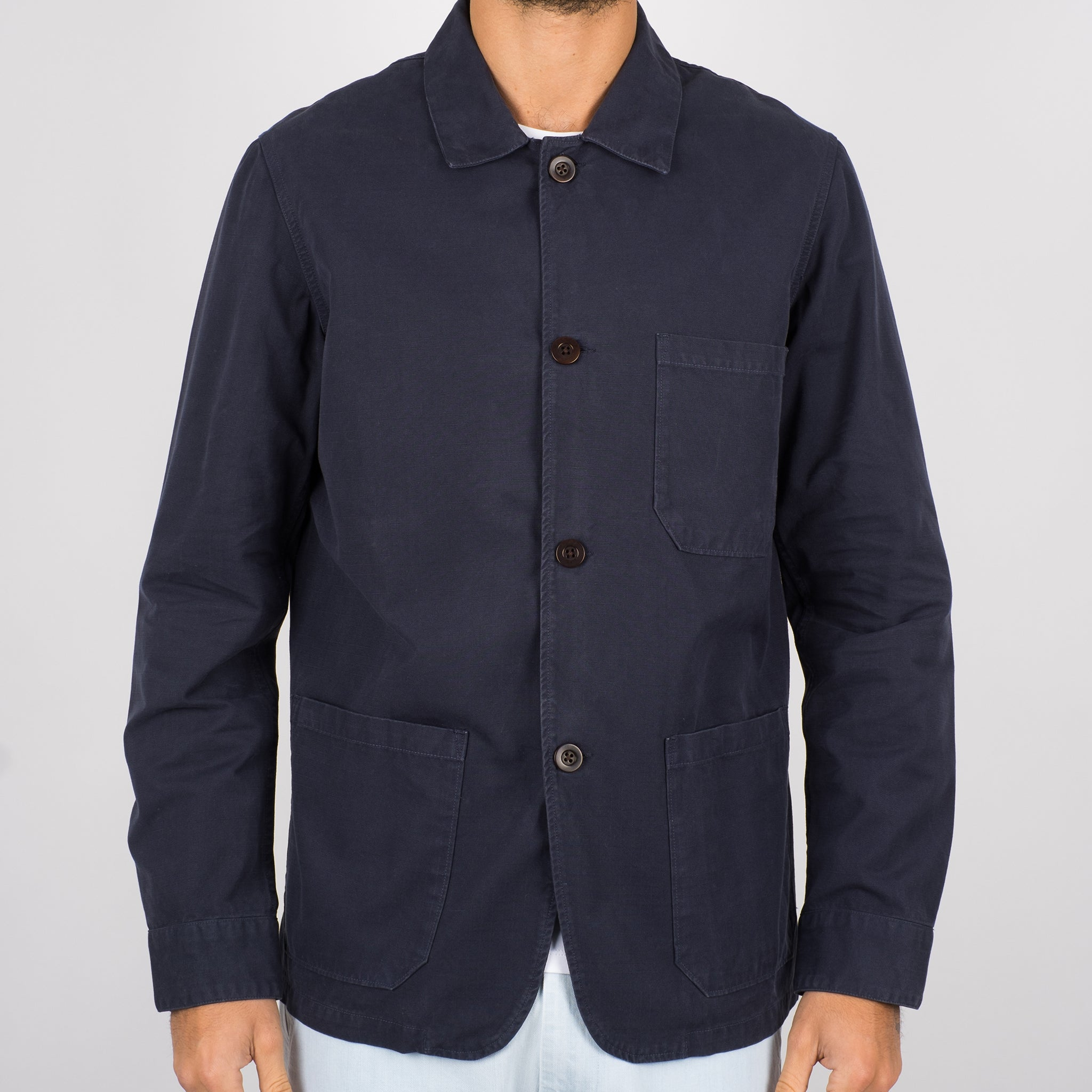 Portuguese Flannel Labura Jacket in Navy Ripstop