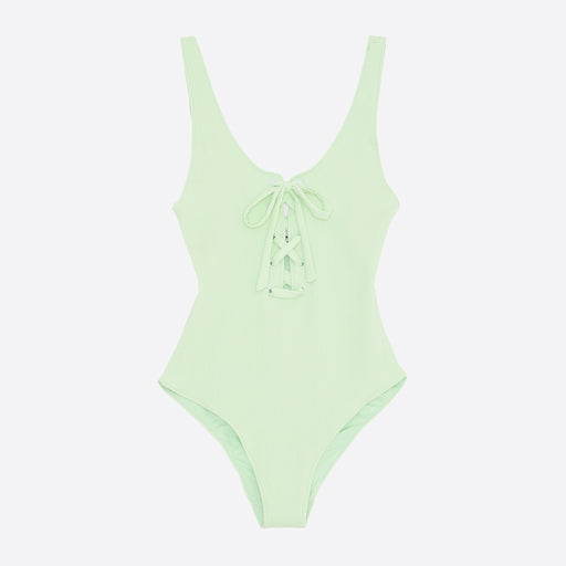 Ganni Recycled Tie Front Textured Swimsuit in Patina Green
