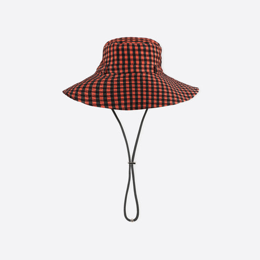 Ganni Seersucker Check Hat in Flame