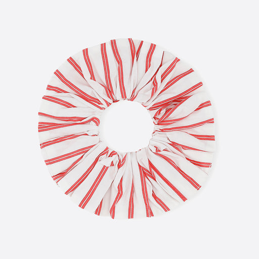 Ganni Stripe Cotton Scrunchie in Lolipop