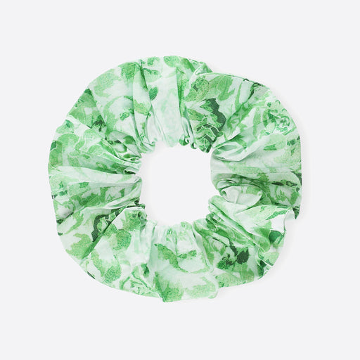 Ganni Printed Poplin Cotton Scrunchie in Island Green