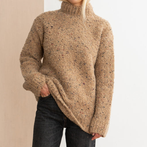 Ganni Slub Knit Rollneck in Tapioca