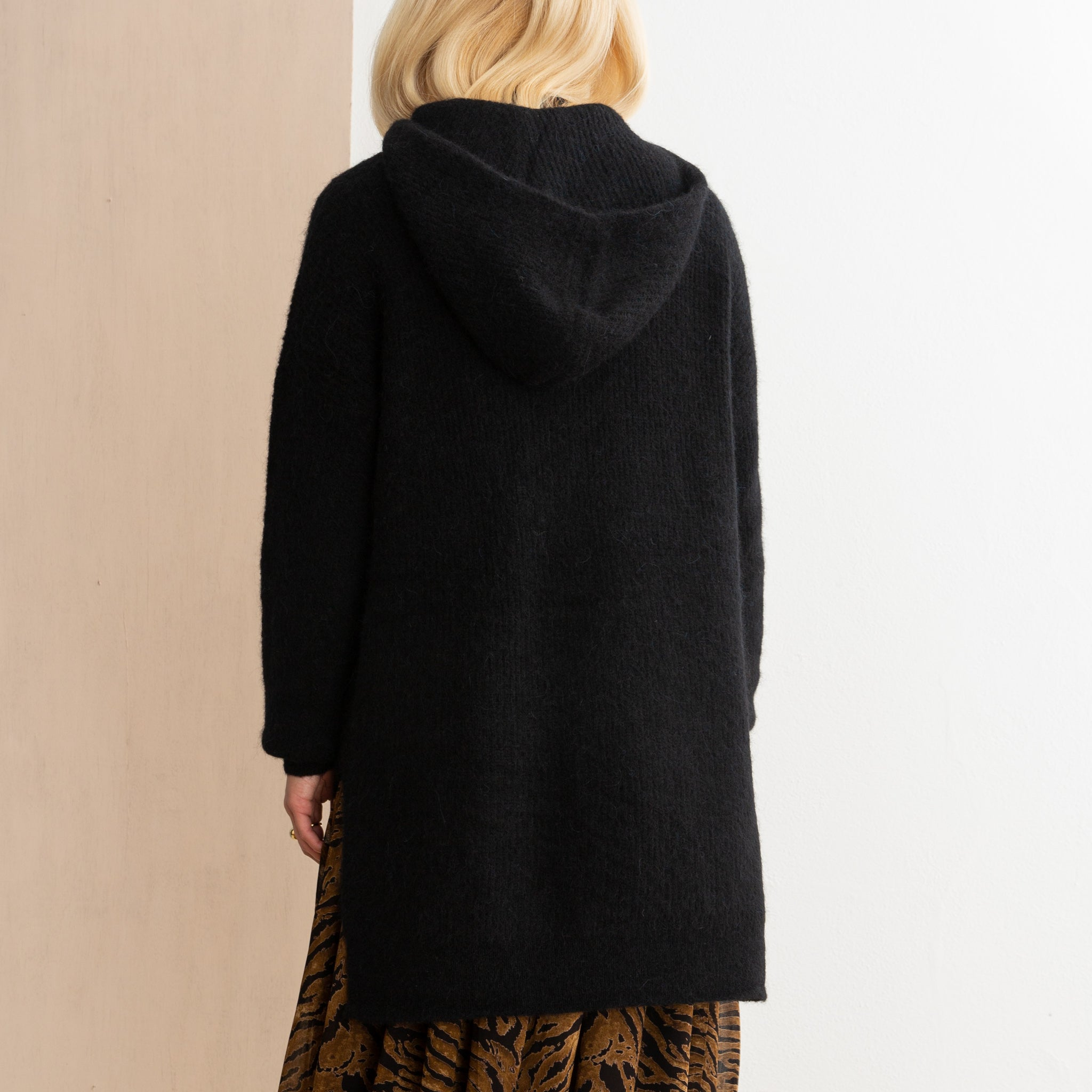 Ganni Soft Knit Wool Hoodie in Black