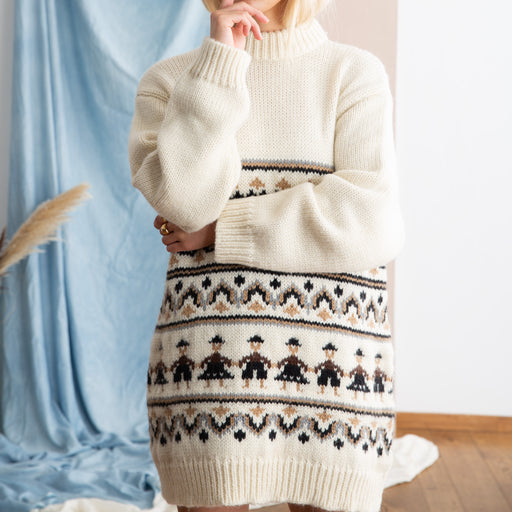 Ganni Hand Knit Wool Pullover In Egret