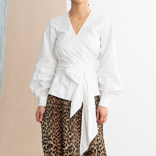 Ganni Cotton Poplin Wrap Shirt in Bright White
