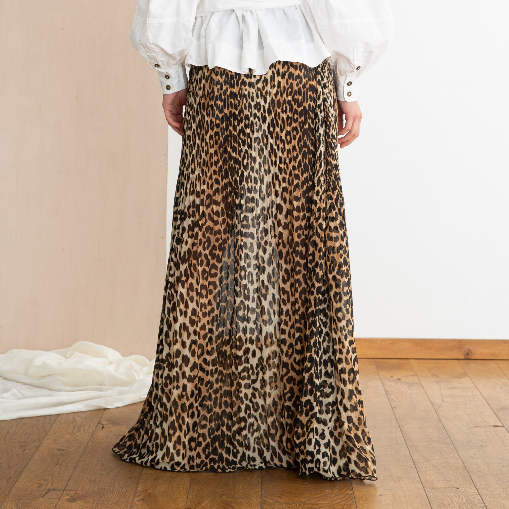 Ganni Pleated Georgette Maxi Skirt in Leopard