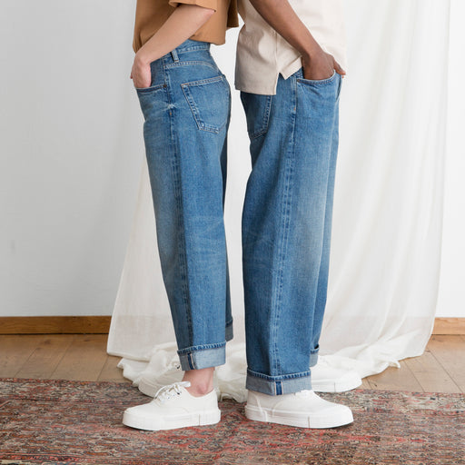 I AND ME Selvedge Wide Leg Jeans in Desert Vintage