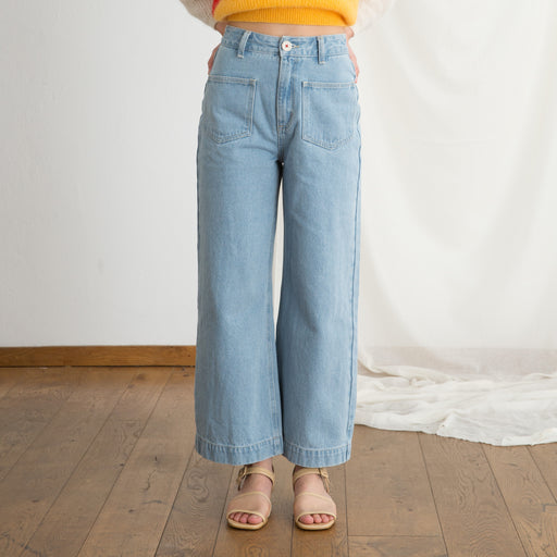 Sideline Rue Trousers in Mid Wash Denim