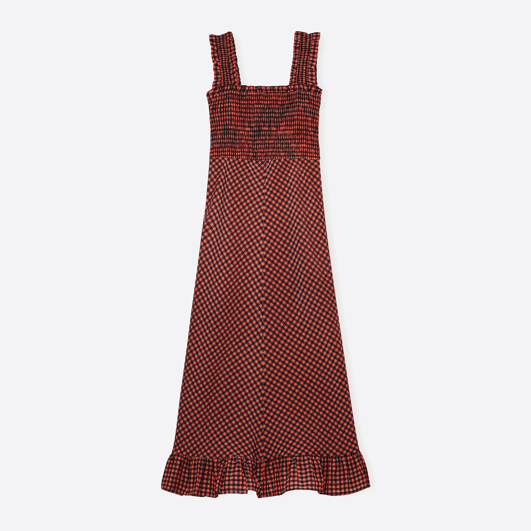 Ganni Seersucker Check Maxi Dress in Flame