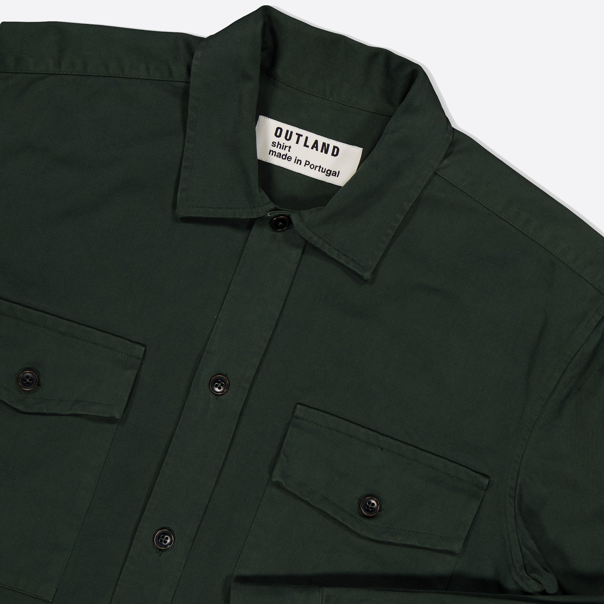 OUTLAND Army Twill Overshirt in Forest Green
