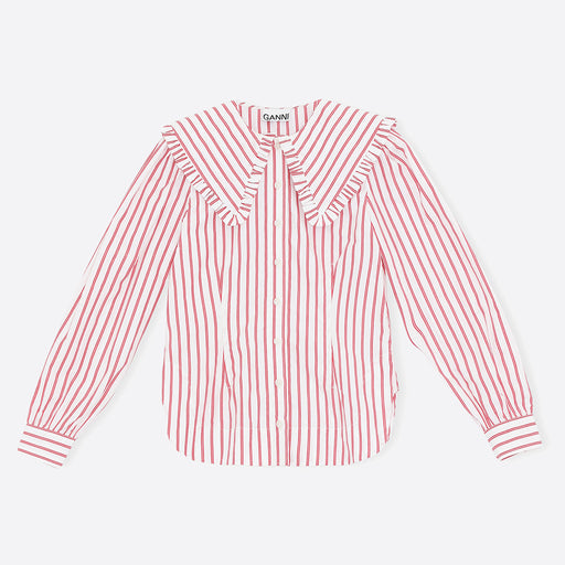 Ganni Stripe Cotton Frill Collar Shirt in Lolipop