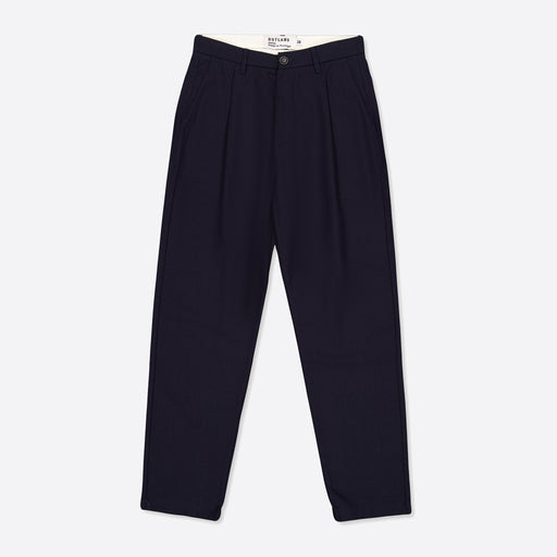 OUTLAND Pleats Wool Pants in Navy