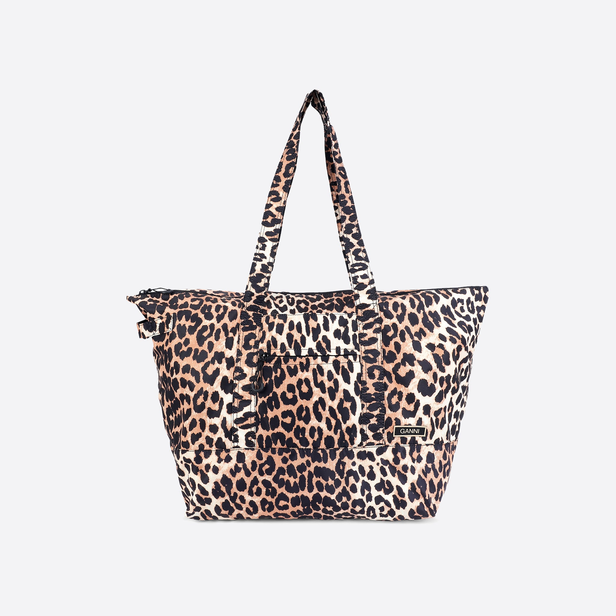 Ganni Recycled Tech Fabric Packable Tote in Leopard