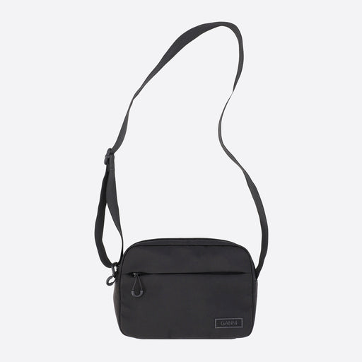 Ganni Recycled Tech Fabric Festival Bag in Black