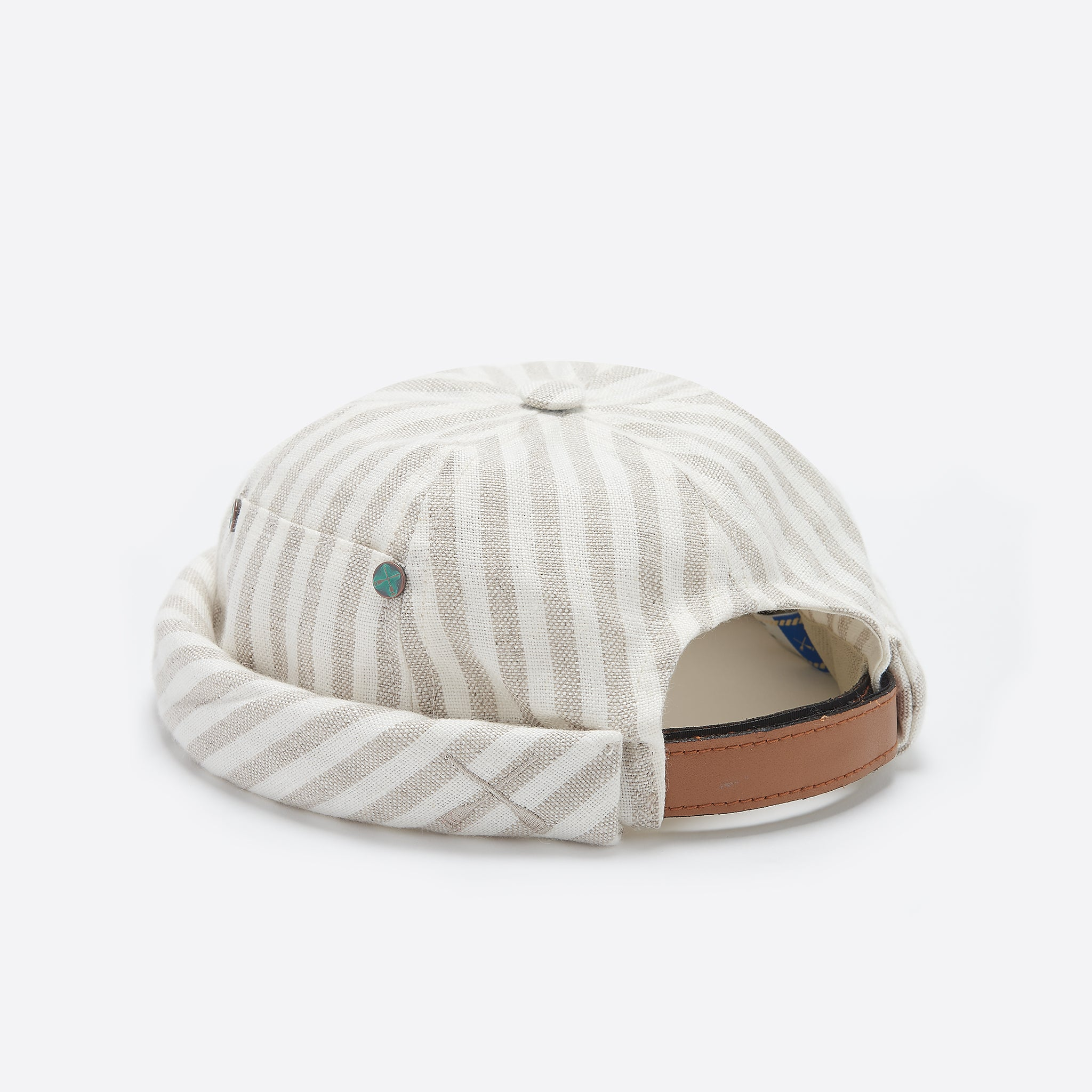 Beton Cire Miki Hat in Striped Beige Linen