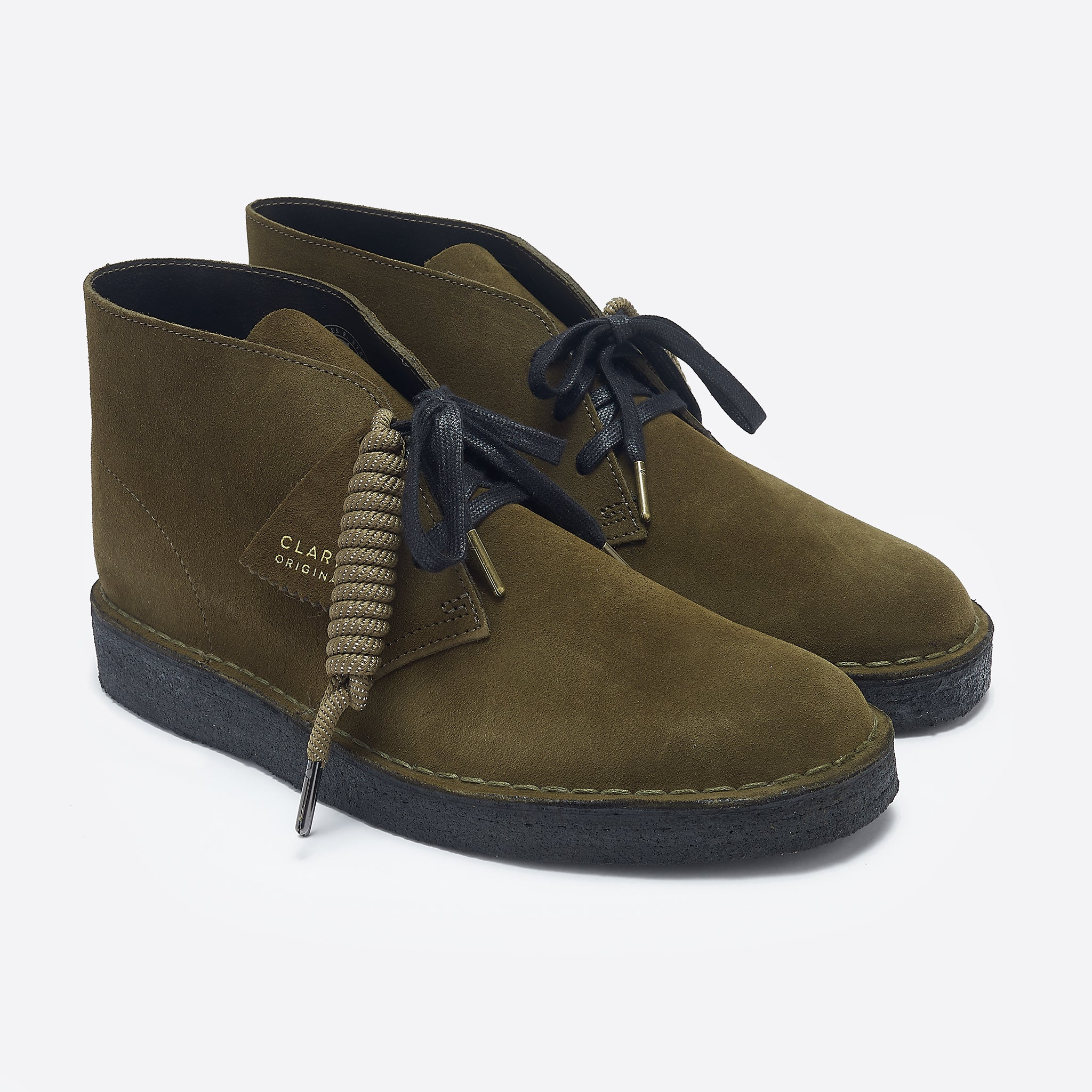 Clarks Original Desert Coal in Olive Suede