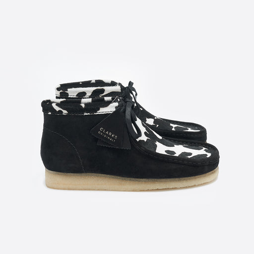 Clarks Originals Wallabee Boots in Black Cow Print
