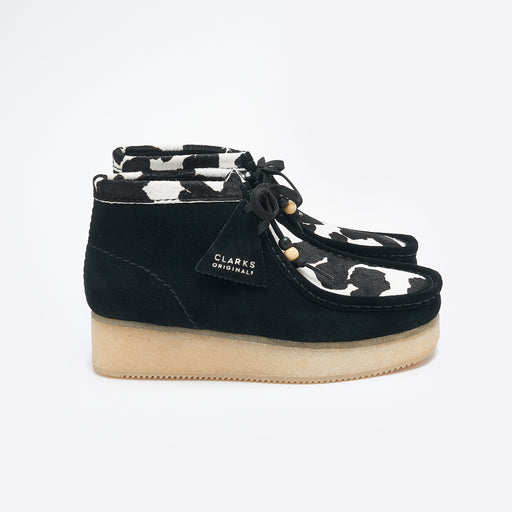 Clarks Originals Wallabee Wedge in Black Cow Print
