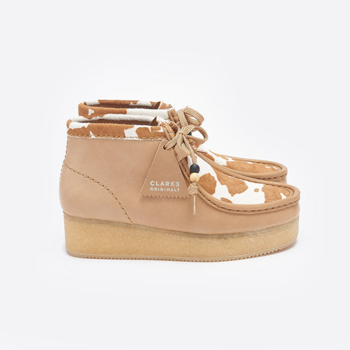 Clarks Originals Wallabee Wedge in Tan Cow Print
