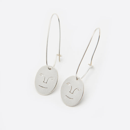 Polly Collins Moon Face Earrings in Silver