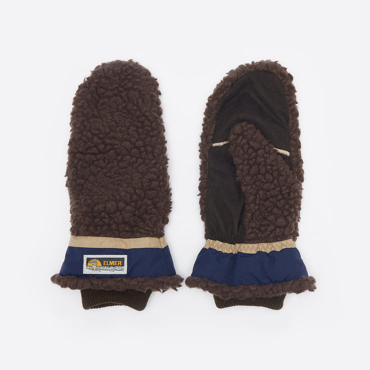 Elmer by Swany Wool Pile Mittens in Brown